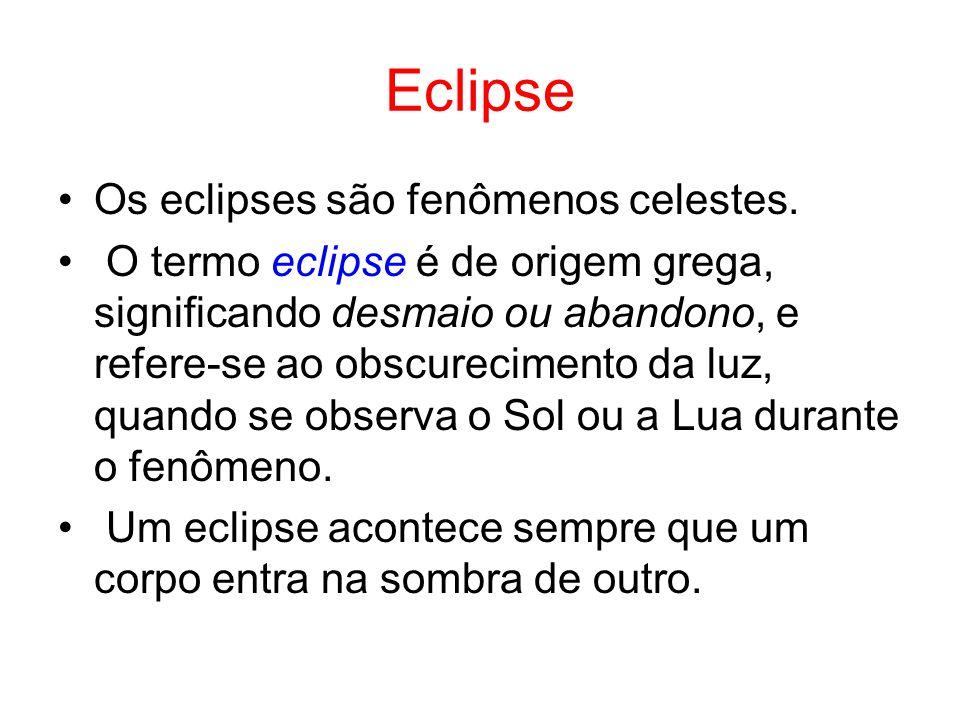 Eclipse Os eclipses são fenômenos celestes.