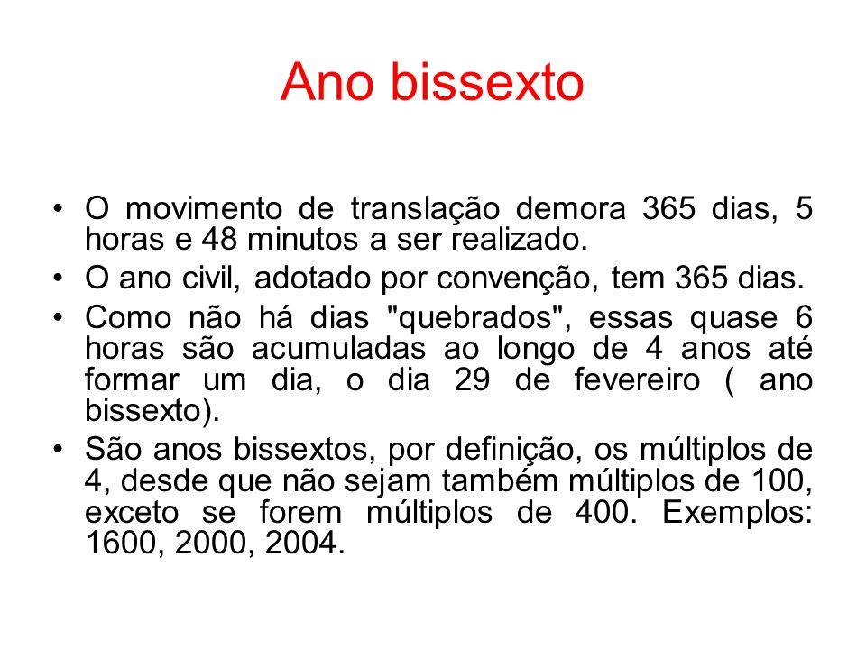 Ano bissexto O movimento de translação demora 365 dias, 5 horas e 48 minutos a ser realizado. O ano civil, adotado por convenção, tem 365 dias.