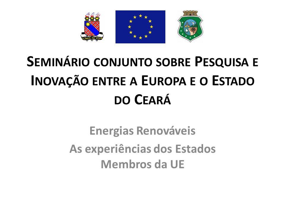 Energias Renováveis As experiências dos Estados Membros da UE