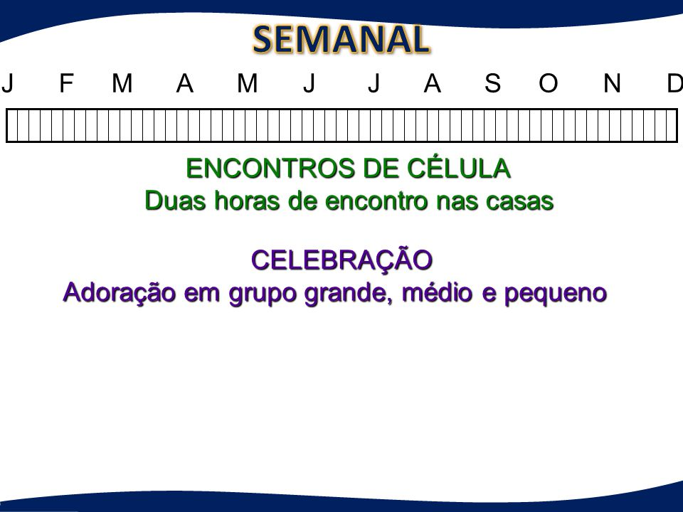 SEMANAL J F M A M J J A S O N D ENCONTROS DE CÉLULA