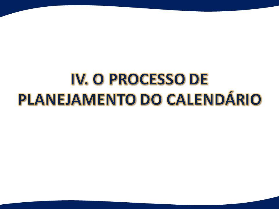 IV. O PROCESSO DE PLANEJAMENTO DO CALENDÁRIO