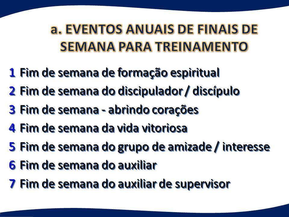 a. EVENTOS ANUAIS DE FINAIS DE SEMANA PARA TREINAMENTO