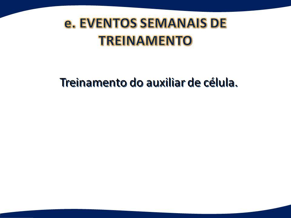 e. EVENTOS SEMANAIS DE TREINAMENTO