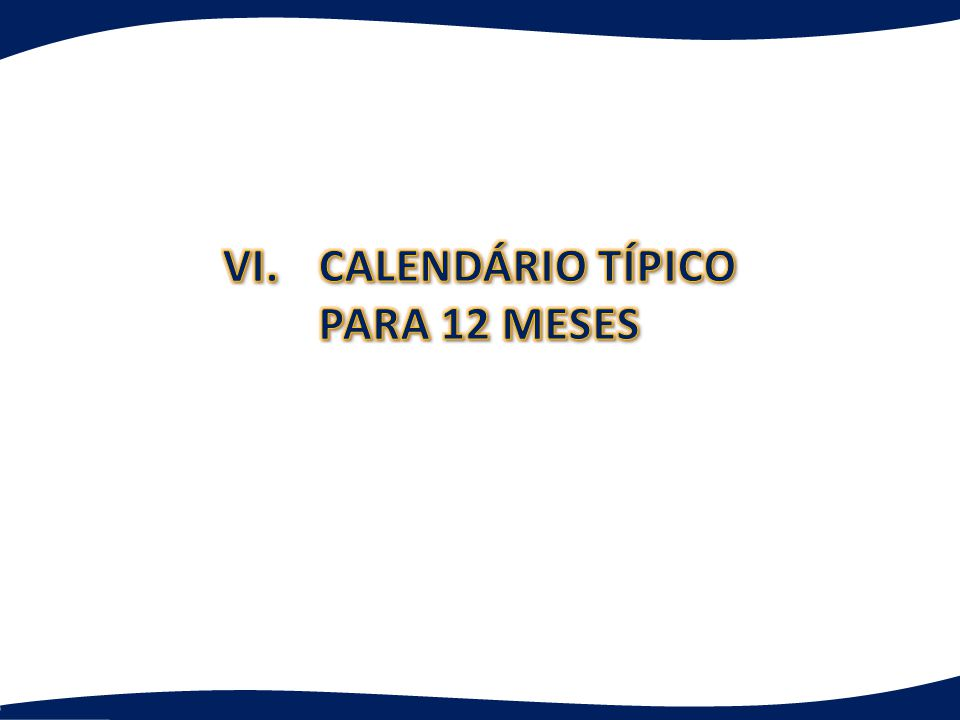 VI. CALENDÁRIO TÍPICO PARA 12 MESES