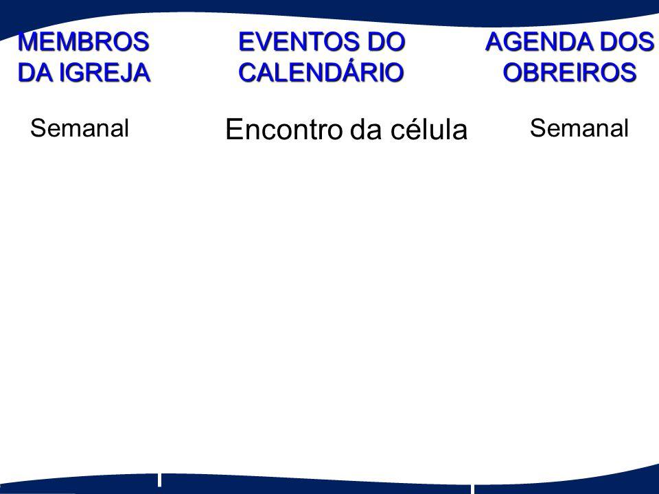 Encontro da célula MEMBROS DA IGREJA EVENTOS DO CALENDÁRIO AGENDA DOS