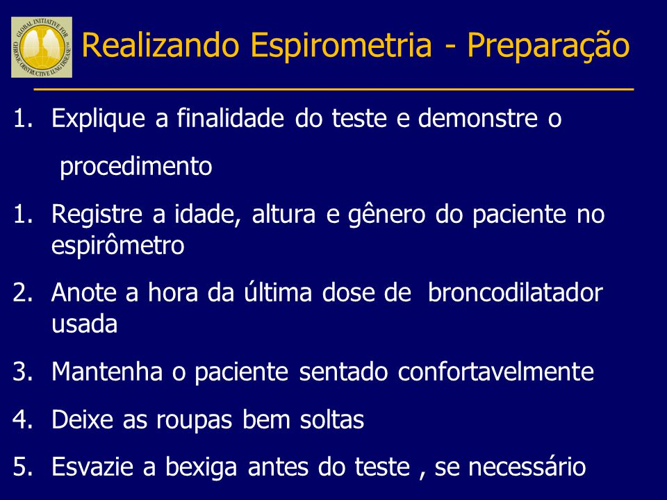 Realizando Espirometria - Preparação