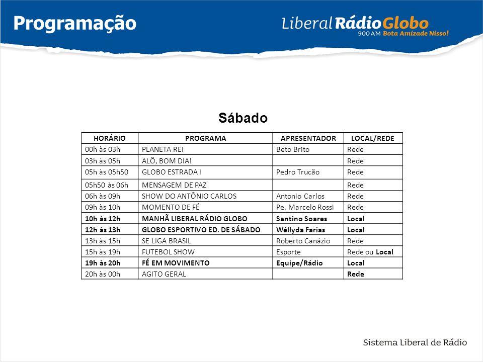 Programação Sábado HORÁRIO PROGRAMA APRESENTADOR LOCAL/REDE 00h às 03h