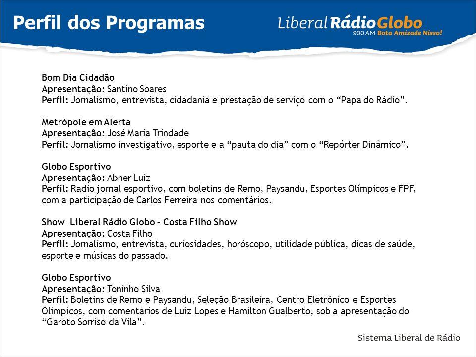 Perfil dos Programas Bom Dia Cidadão Apresentação: Santino Soares