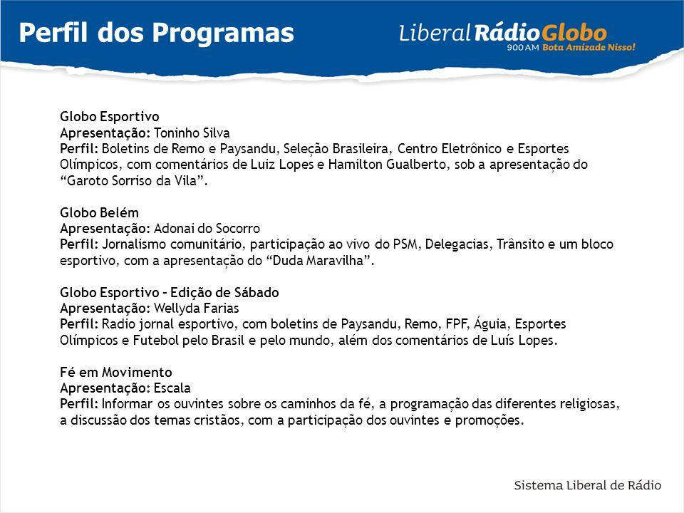 Perfil dos Programas Globo Esportivo Apresentação: Toninho Silva