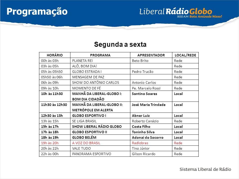 Programação Segunda a sexta HORÁRIO PROGRAMA APRESENTADOR LOCAL/REDE