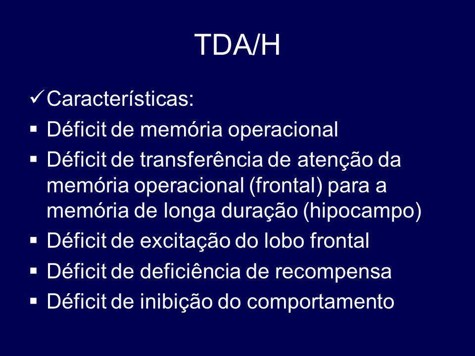 TDA/H Características: Déficit de memória operacional