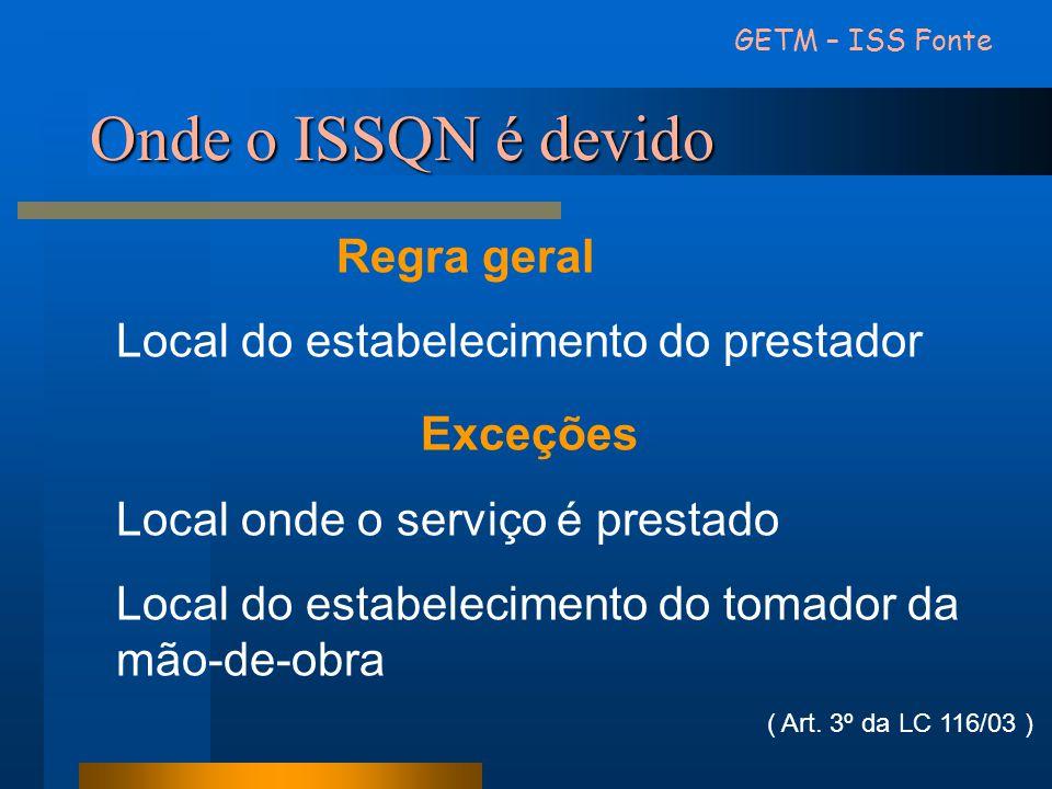 Onde o ISSQN é devido Exceções Regra geral