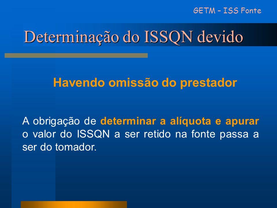 Determinação do ISSQN devido
