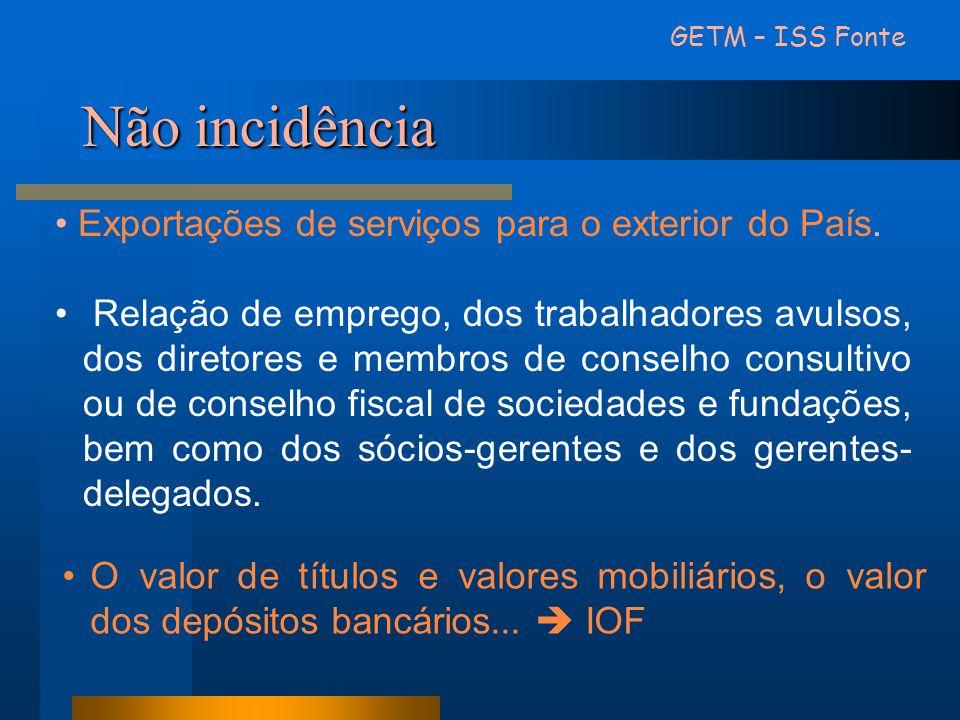 Não incidência Exportações de serviços para o exterior do País.