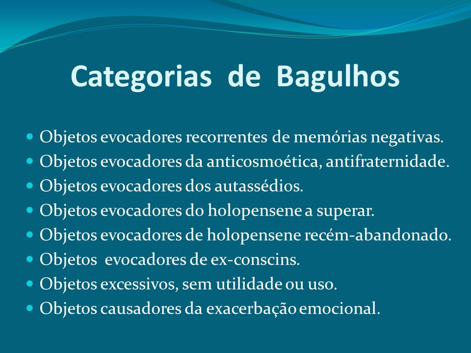 Categorias de Bagulhos