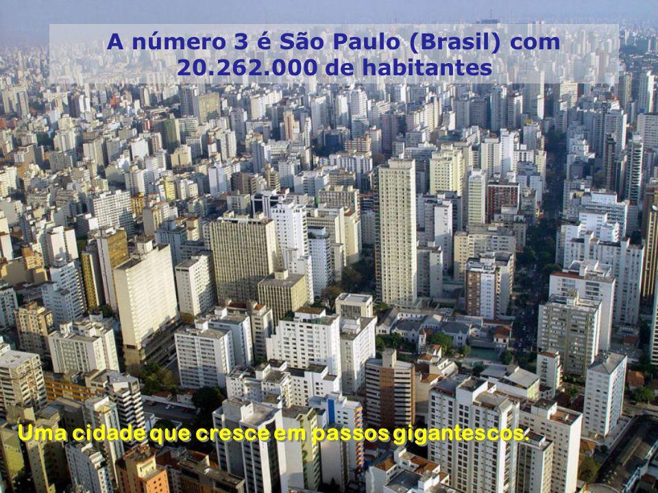 A número 3 é São Paulo (Brasil) com 20.262.000 de habitantes