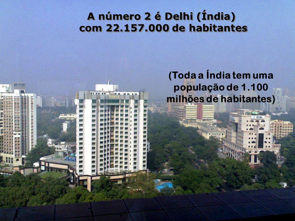A número 2 é Delhi (Índia) milhões de habitantes)