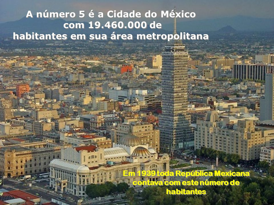 A número 5 é a Cidade do México com 19.460.000 de
