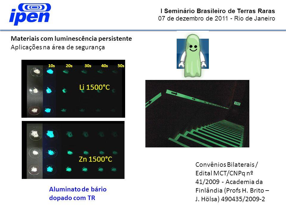 Li 1500°C Zn 1500°C Materiais com luminescência persistente