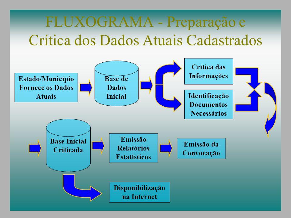 FLUXOGRAMA - Preparação e Crítica dos Dados Atuais Cadastrados