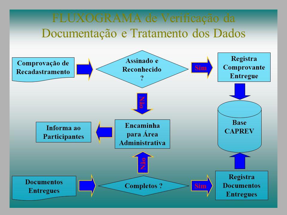 FLUXOGRAMA de Verificação da Documentação e Tratamento dos Dados