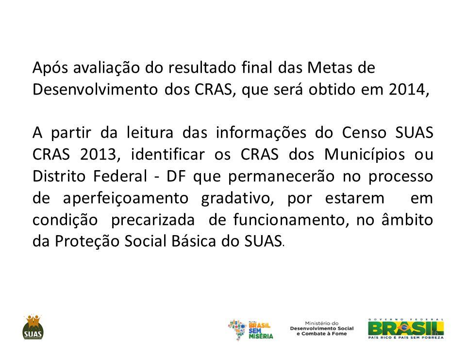 Após avaliação do resultado final das Metas de Desenvolvimento dos CRAS, que será obtido em 2014,