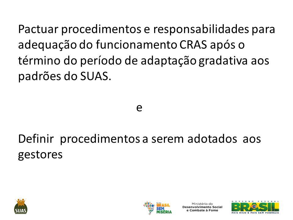 Pactuar procedimentos e responsabilidades para adequação do funcionamento CRAS após o término do período de adaptação gradativa aos padrões do SUAS.
