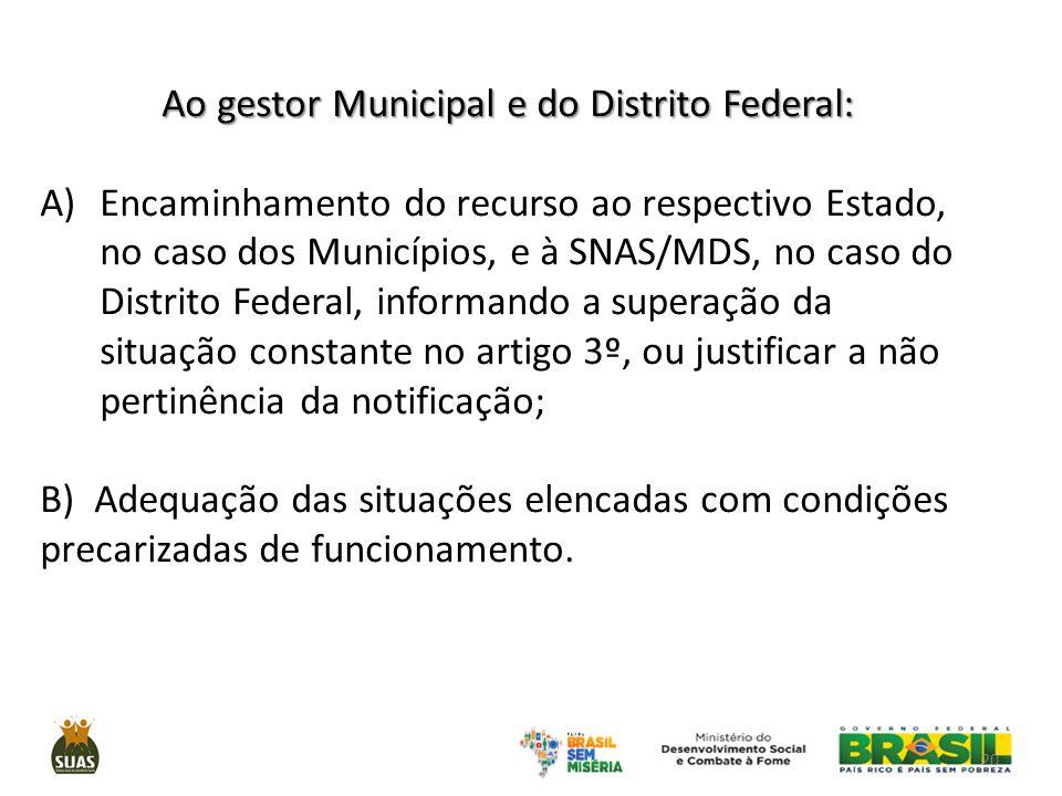Ao gestor Municipal e do Distrito Federal: