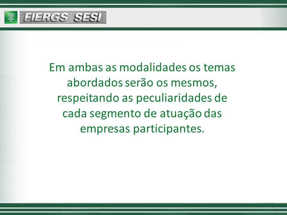Em ambas as modalidades os temas abordados serão os mesmos, respeitando as peculiaridades de cada segmento de atuação das empresas participantes.