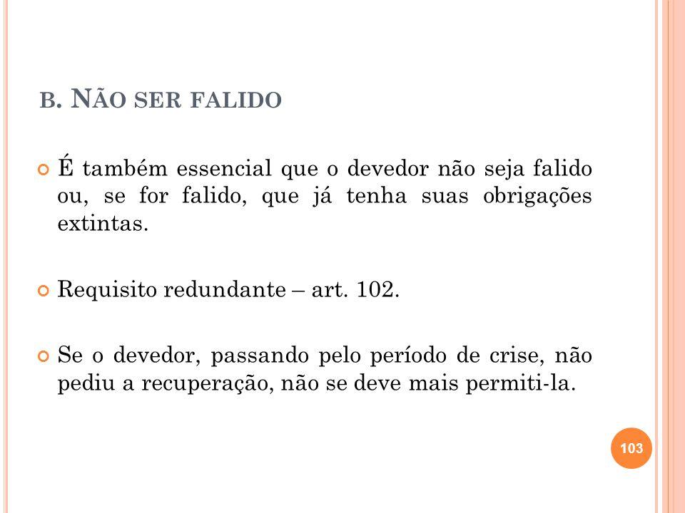 b. Não ser falido É também essencial que o devedor não seja falido ou, se for falido, que já tenha suas obrigações extintas.