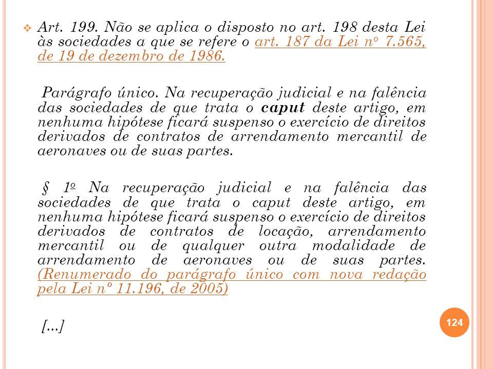 Art. 199. Não se aplica o disposto no art
