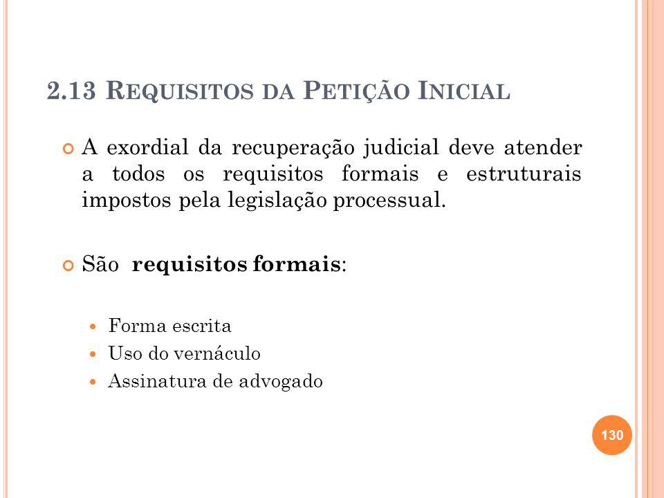 2.13 Requisitos da Petição Inicial