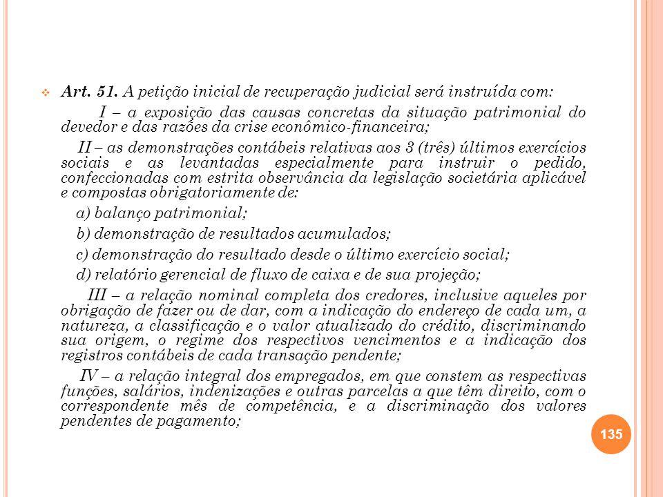 Art. 51. A petição inicial de recuperação judicial será instruída com: