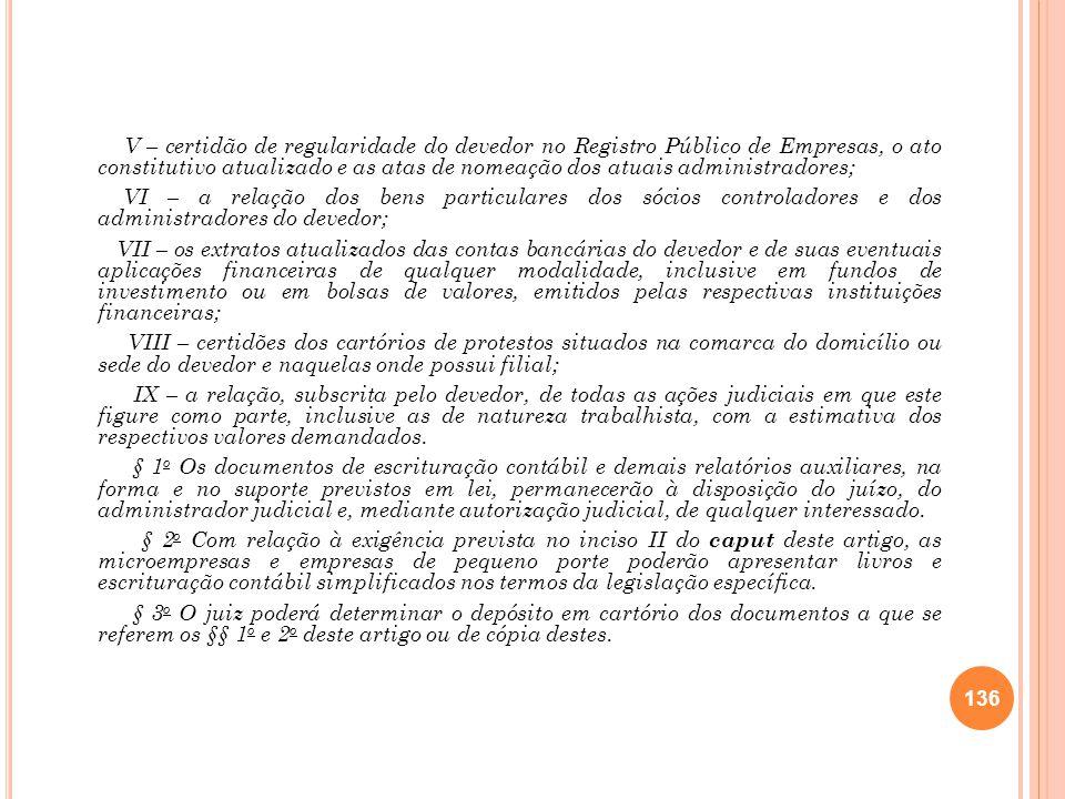 V – certidão de regularidade do devedor no Registro Público de Empresas, o ato constitutivo atualizado e as atas de nomeação dos atuais administradores;