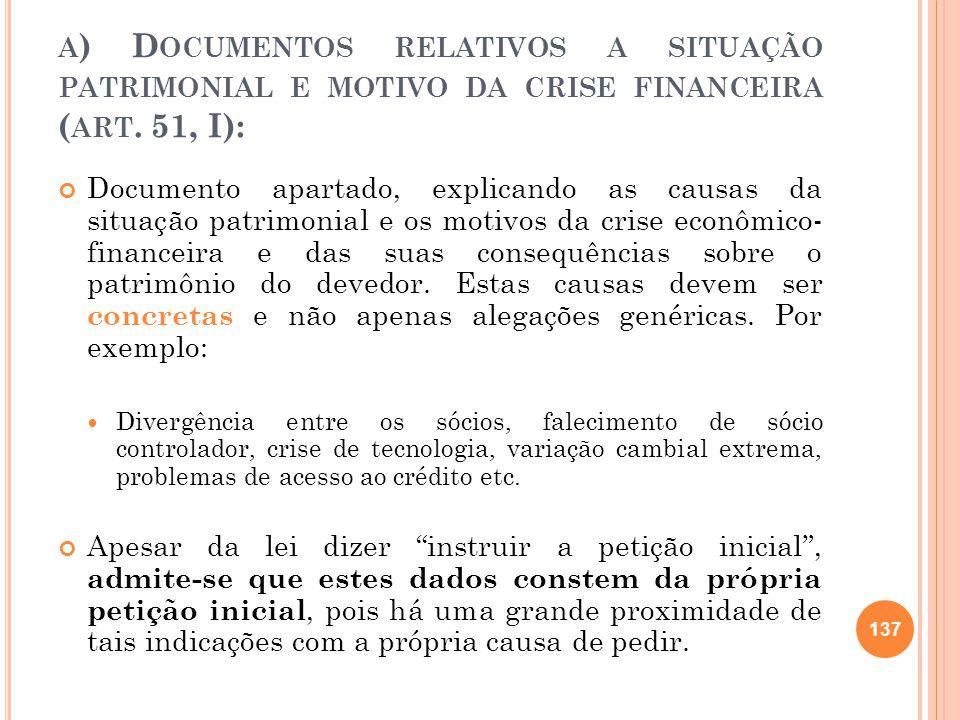 a) Documentos relativos a situação patrimonial e motivo da crise financeira (art. 51, I):