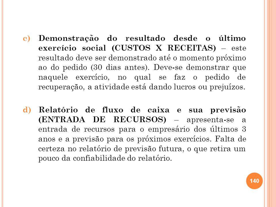 c) Demonstração do resultado desde o último exercício social (CUSTOS X RECEITAS) – este resultado deve ser demonstrado até o momento próximo ao do pedido (30 dias antes).