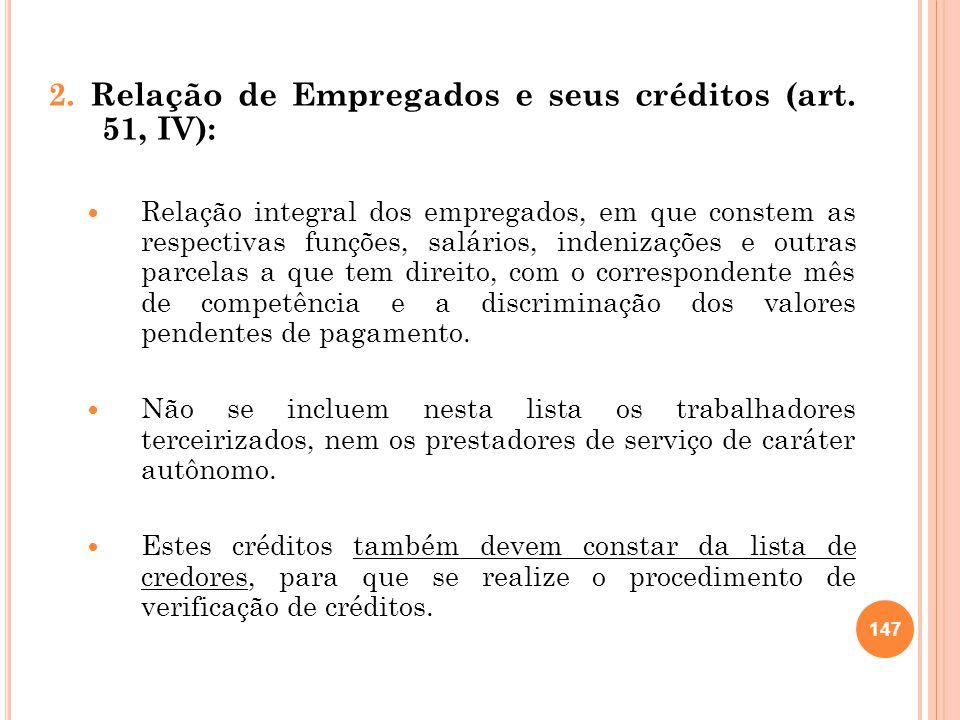 2. Relação de Empregados e seus créditos (art. 51, IV):