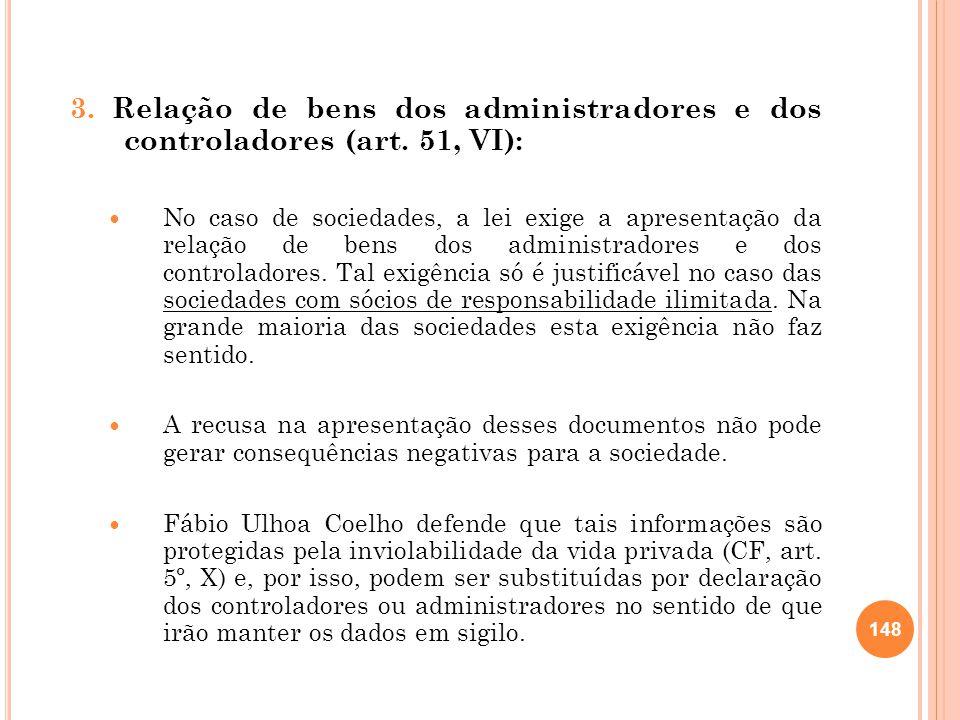 3. Relação de bens dos administradores e dos controladores (art