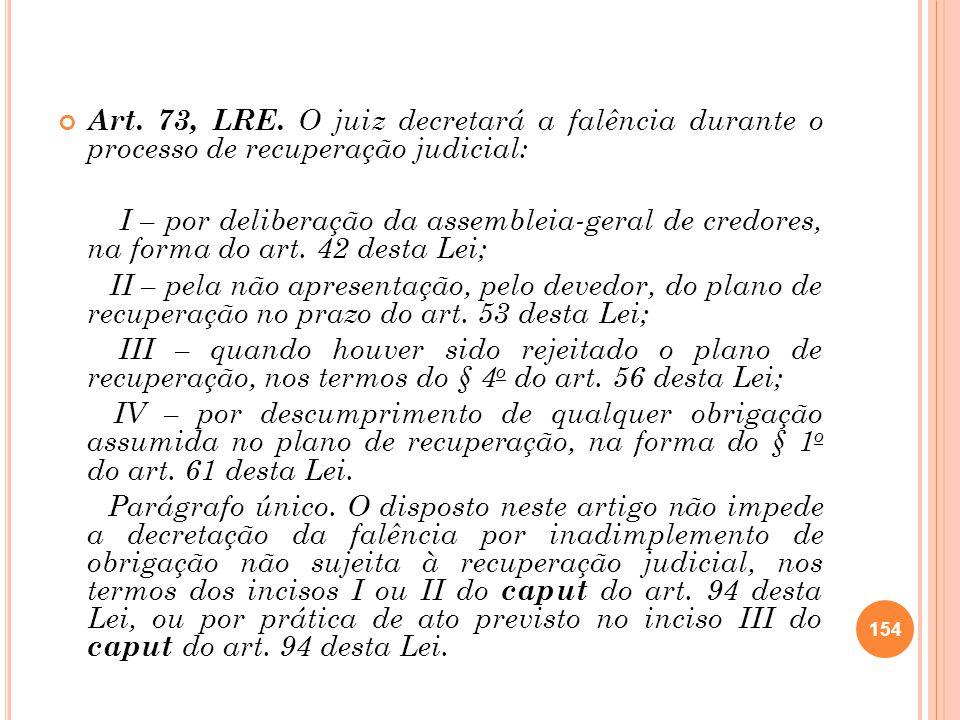 Art. 73, LRE. O juiz decretará a falência durante o processo de recuperação judicial: