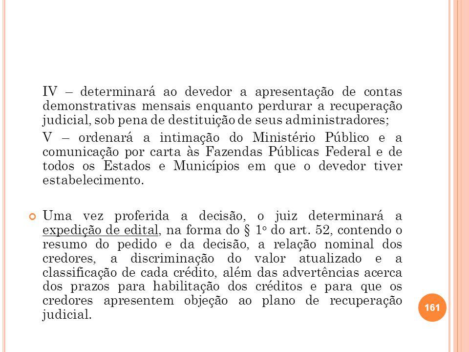 IV – determinará ao devedor a apresentação de contas demonstrativas mensais enquanto perdurar a recuperação judicial, sob pena de destituição de seus administradores;
