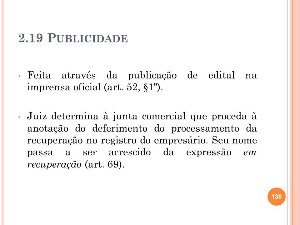 2.19 Publicidade Feita através da publicação de edital na imprensa oficial (art. 52, §1º).