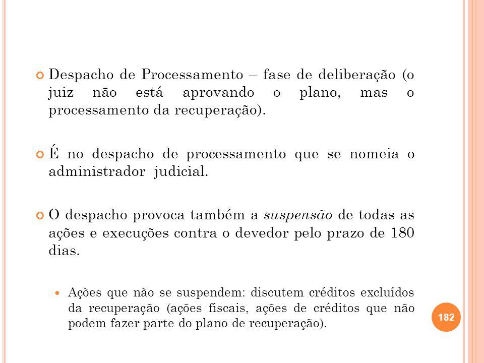 É no despacho de processamento que se nomeia o administrador judicial.