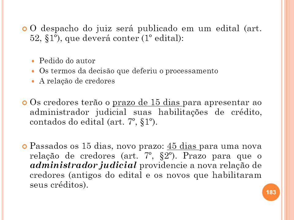 O despacho do juiz será publicado em um edital (art
