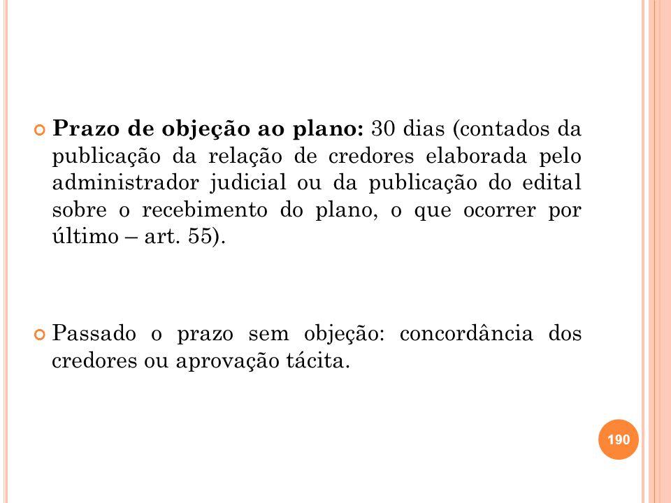 Prazo de objeção ao plano: 30 dias (contados da publicação da relação de credores elaborada pelo administrador judicial ou da publicação do edital sobre o recebimento do plano, o que ocorrer por último – art. 55).