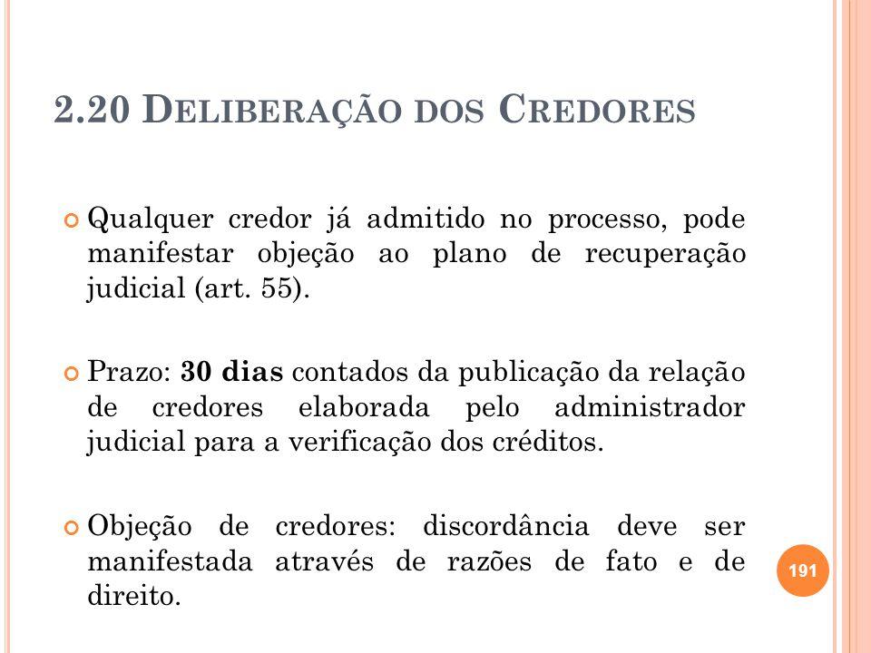 2.20 Deliberação dos Credores