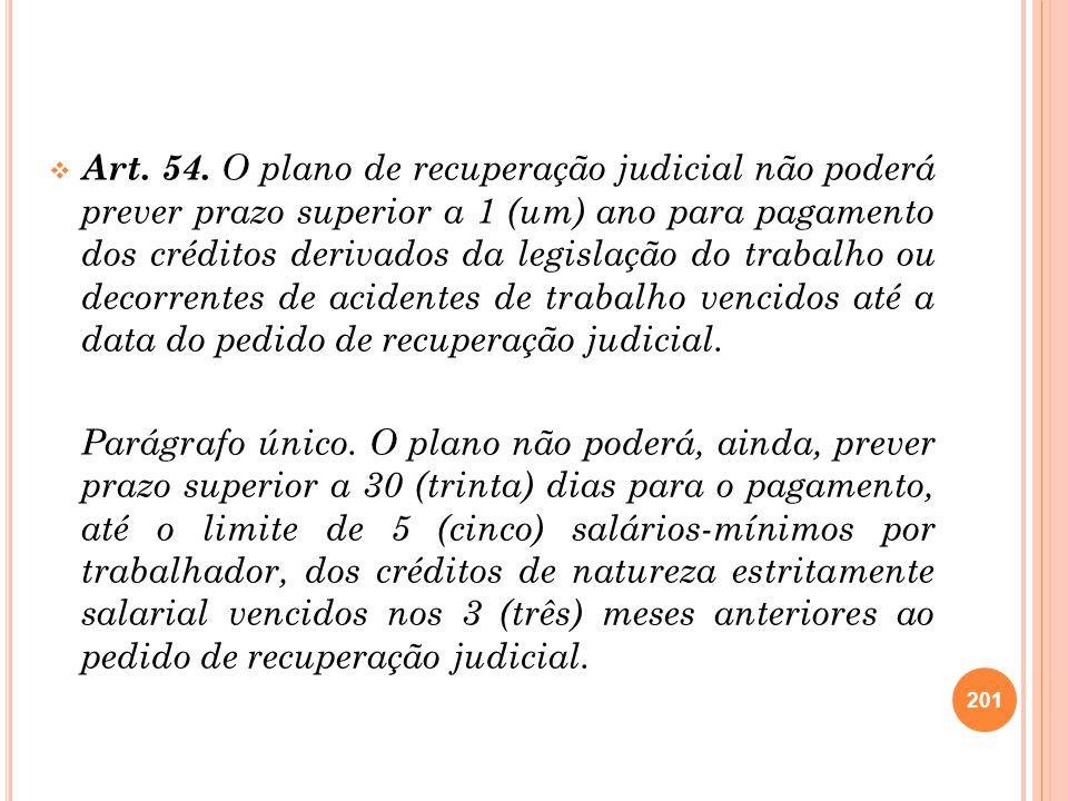 Art. 54. O plano de recuperação judicial não poderá prever prazo superior a 1 (um) ano para pagamento dos créditos derivados da legislação do trabalho ou decorrentes de acidentes de trabalho vencidos até a data do pedido de recuperação judicial.