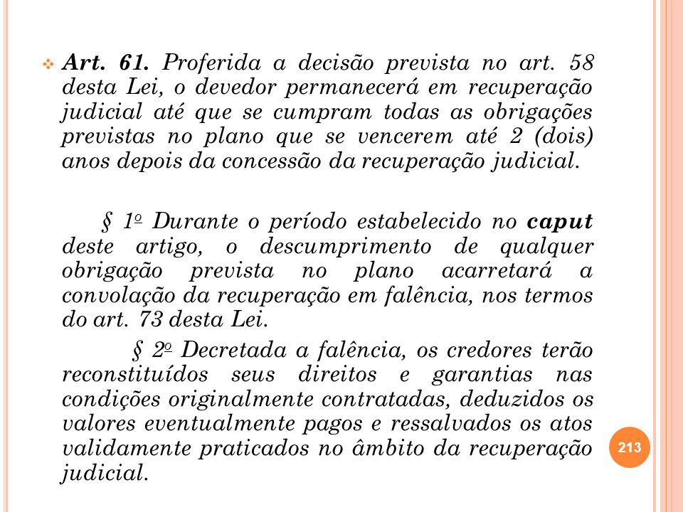 Art. 61. Proferida a decisão prevista no art