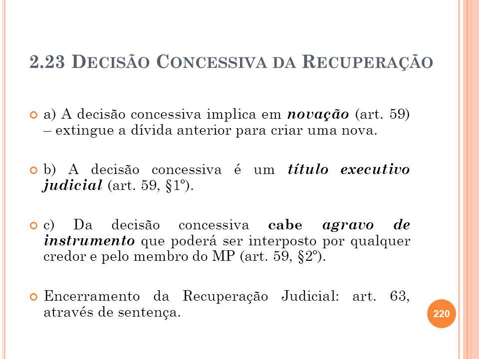 2.23 Decisão Concessiva da Recuperação