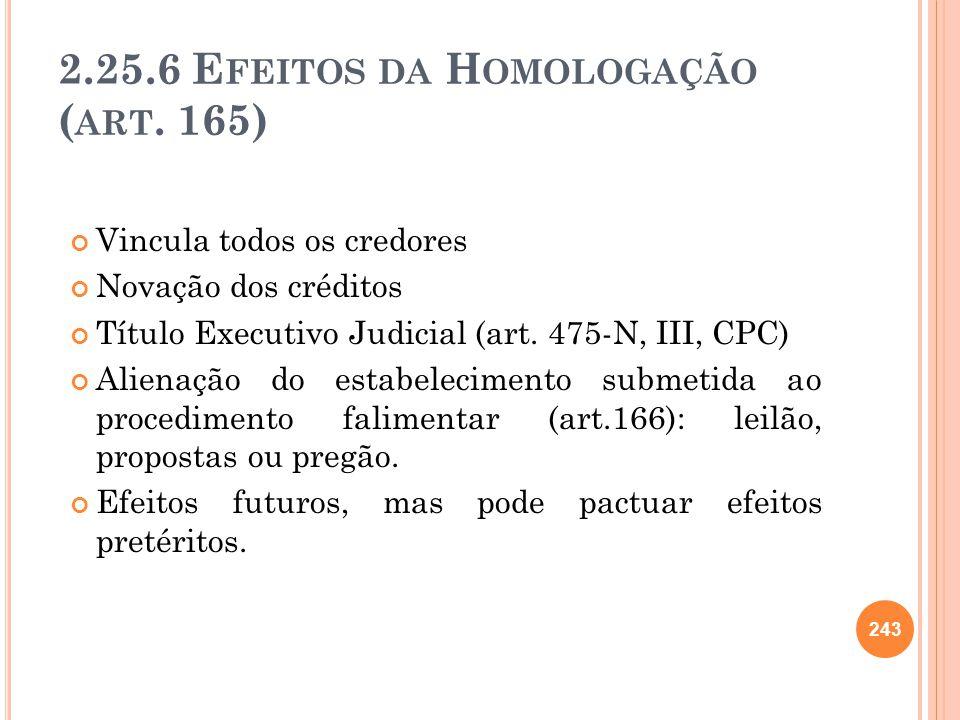 2.25.6 Efeitos da Homologação (art. 165)