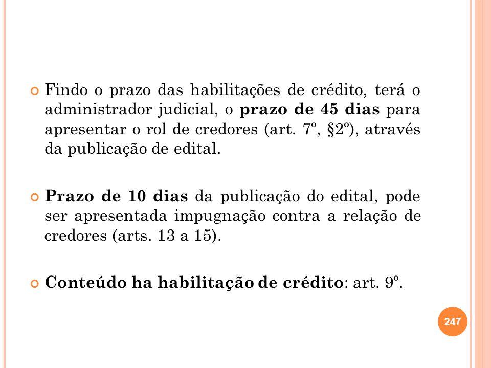 Findo o prazo das habilitações de crédito, terá o administrador judicial, o prazo de 45 dias para apresentar o rol de credores (art. 7º, §2º), através da publicação de edital.
